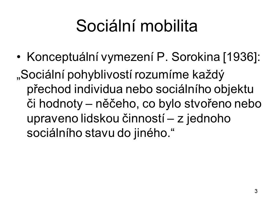Sociální mobilita Konceptuální vymezení P. Sorokina [1936]: